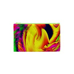 Stormy Yellow Wave Abstract Paintwork Cosmetic Bag (xs) by Simbadda