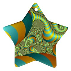 Gold Blue Fractal Worms Background Ornament (star) by Simbadda