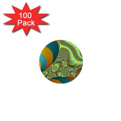 Gold Blue Fractal Worms Background 1  Mini Buttons (100 Pack)  by Simbadda