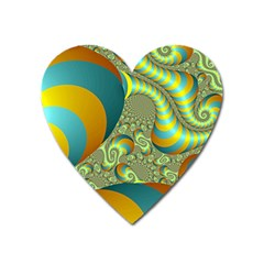 Gold Blue Fractal Worms Background Heart Magnet by Simbadda
