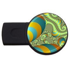 Gold Blue Fractal Worms Background Usb Flash Drive Round (2 Gb) by Simbadda