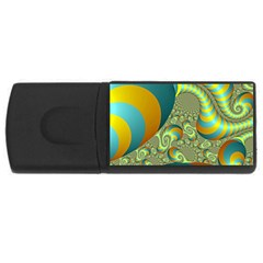 Gold Blue Fractal Worms Background USB Flash Drive Rectangular (2 GB) by Simbadda