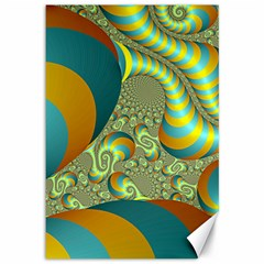 Gold Blue Fractal Worms Background Canvas 12  X 18   by Simbadda
