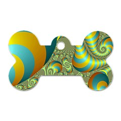 Gold Blue Fractal Worms Background Dog Tag Bone (two Sides) by Simbadda