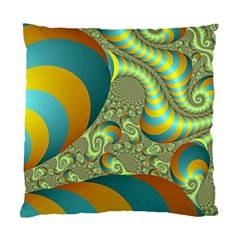Gold Blue Fractal Worms Background Standard Cushion Case (one Side) by Simbadda