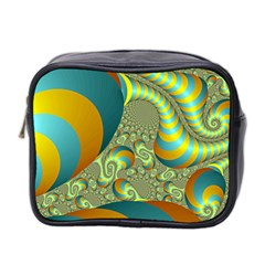 Gold Blue Fractal Worms Background Mini Toiletries Bag 2 Side by Simbadda