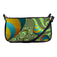 Gold Blue Fractal Worms Background Shoulder Clutch Bags by Simbadda