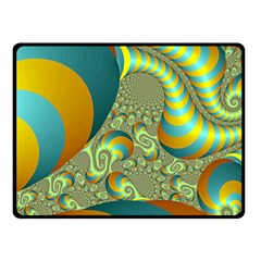 Gold Blue Fractal Worms Background Fleece Blanket (small) by Simbadda