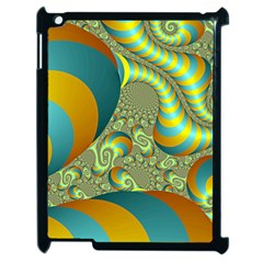 Gold Blue Fractal Worms Background Apple Ipad 2 Case (black) by Simbadda