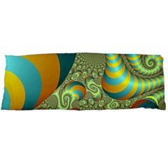 Gold Blue Fractal Worms Background Body Pillow Case (dakimakura) by Simbadda