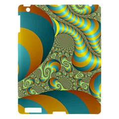 Gold Blue Fractal Worms Background Apple Ipad 3/4 Hardshell Case by Simbadda