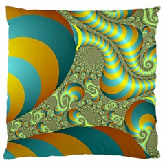 Gold Blue Fractal Worms Background Large Cushion Case (two Sides)