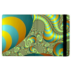 Gold Blue Fractal Worms Background Apple Ipad 3/4 Flip Case by Simbadda