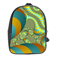 Gold Blue Fractal Worms Background School Bags (xl)  by Simbadda
