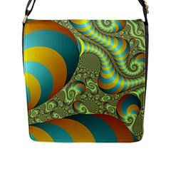 Gold Blue Fractal Worms Background Flap Messenger Bag (l)  by Simbadda