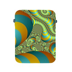 Gold Blue Fractal Worms Background Apple Ipad 2/3/4 Protective Soft Cases by Simbadda