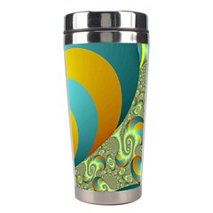 Gold Blue Fractal Worms Background Stainless Steel Travel Tumblers by Simbadda