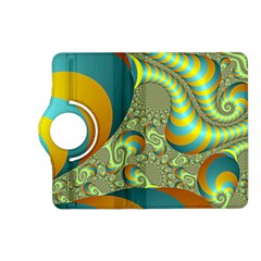 Gold Blue Fractal Worms Background Kindle Fire Hd (2013) Flip 360 Case by Simbadda