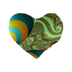 Gold Blue Fractal Worms Background Standard 16  Premium Flano Heart Shape Cushions by Simbadda