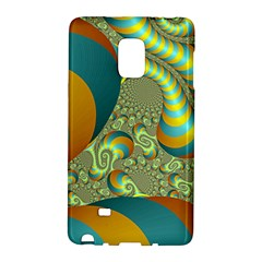 Gold Blue Fractal Worms Background Galaxy Note Edge by Simbadda
