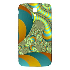 Gold Blue Fractal Worms Background Samsung Galaxy Mega I9200 Hardshell Back Case by Simbadda