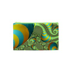 Gold Blue Fractal Worms Background Cosmetic Bag (xs) by Simbadda
