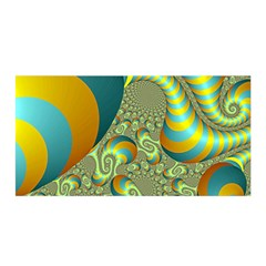 Gold Blue Fractal Worms Background Satin Wrap by Simbadda