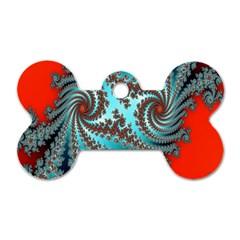 Digital Fractal Pattern Dog Tag Bone (two Sides) by Simbadda