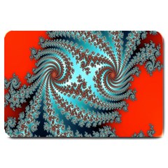 Digital Fractal Pattern Large Doormat  by Simbadda
