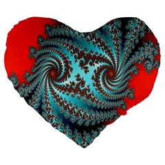 Digital Fractal Pattern Large 19  Premium Flano Heart Shape Cushions by Simbadda