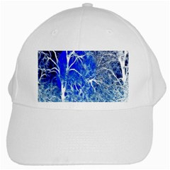 Winter Blue Moon Fractal Forest Background White Cap by Simbadda