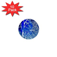 Winter Blue Moon Fractal Forest Background 1  Mini Buttons (10 Pack)  by Simbadda