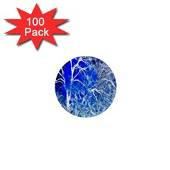 Winter Blue Moon Fractal Forest Background 1  Mini Magnets (100 Pack)  by Simbadda