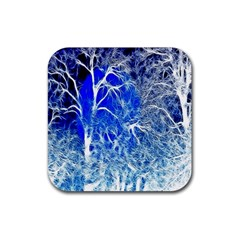 Winter Blue Moon Fractal Forest Background Rubber Square Coaster (4 Pack)  by Simbadda