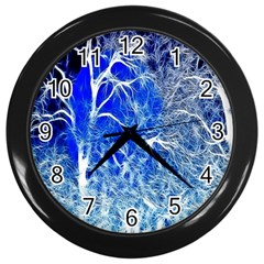 Winter Blue Moon Fractal Forest Background Wall Clocks (black) by Simbadda