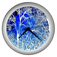 Winter Blue Moon Fractal Forest Background Wall Clocks (silver)  by Simbadda