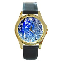 Winter Blue Moon Fractal Forest Background Round Gold Metal Watch by Simbadda
