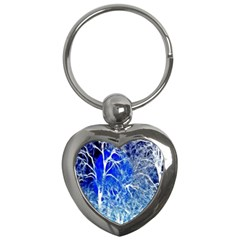 Winter Blue Moon Fractal Forest Background Key Chains (heart)  by Simbadda