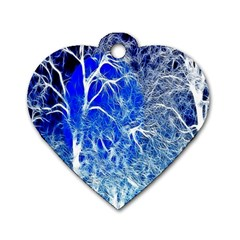 Winter Blue Moon Fractal Forest Background Dog Tag Heart (one Side) by Simbadda