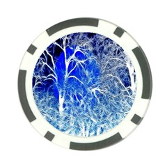 Winter Blue Moon Fractal Forest Background Poker Chip Card Guard (10 Pack) by Simbadda