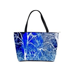 Winter Blue Moon Fractal Forest Background Shoulder Handbags by Simbadda