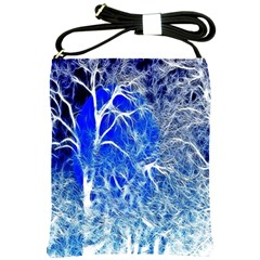 Winter Blue Moon Fractal Forest Background Shoulder Sling Bags by Simbadda