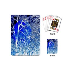 Winter Blue Moon Fractal Forest Background Playing Cards (mini)  by Simbadda