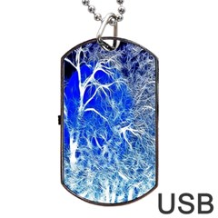 Winter Blue Moon Fractal Forest Background Dog Tag Usb Flash (one Side) by Simbadda