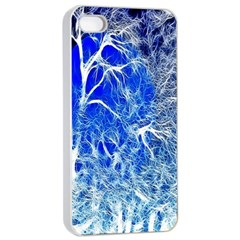 Winter Blue Moon Fractal Forest Background Apple Iphone 4/4s Seamless Case (white) by Simbadda