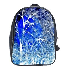 Winter Blue Moon Fractal Forest Background School Bags (xl)  by Simbadda
