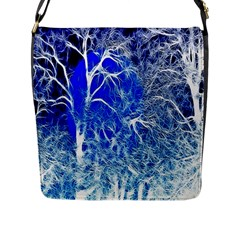 Winter Blue Moon Fractal Forest Background Flap Messenger Bag (l)  by Simbadda