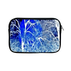Winter Blue Moon Fractal Forest Background Apple Ipad Mini Zipper Cases by Simbadda