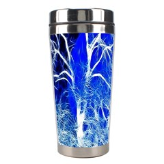 Winter Blue Moon Fractal Forest Background Stainless Steel Travel Tumblers by Simbadda