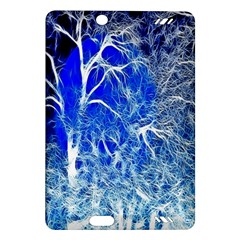 Winter Blue Moon Fractal Forest Background Amazon Kindle Fire Hd (2013) Hardshell Case by Simbadda
